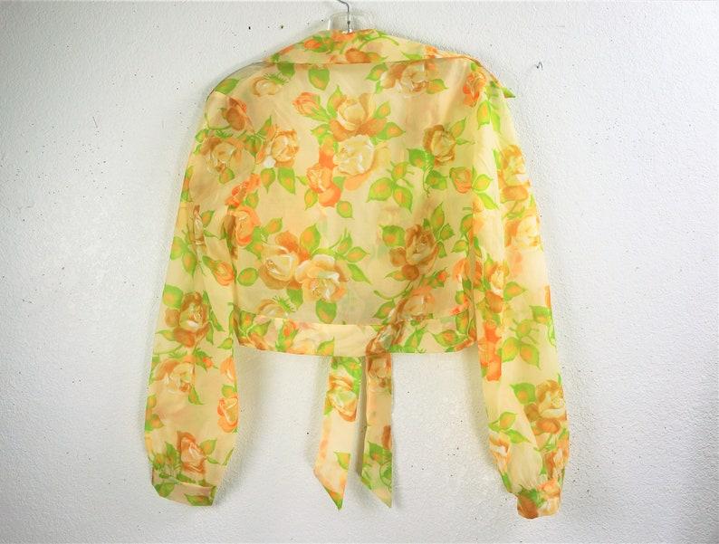 Vng Nylon Poet Sleeve Crop Top Hippie Boho Floral Sheer Crop Midriff Blouse 70/'s Sheer Midriff Crop Top
