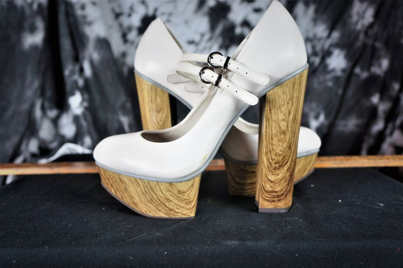 995afe3d2b9 Vng Lolita Goth Platform Mary Jane Heels 9.5 STUNNING! / 90s PUNK Super  Chunky Leather Wood Platforms / Couture Style Strap Platform Heels