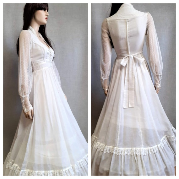 70s Gunne Sax Prairie Wedding Dress - Dead Stock … - image 4