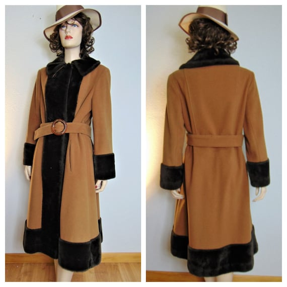 30s Carmel Wool Princess Coat - Perfect 1940s Wool