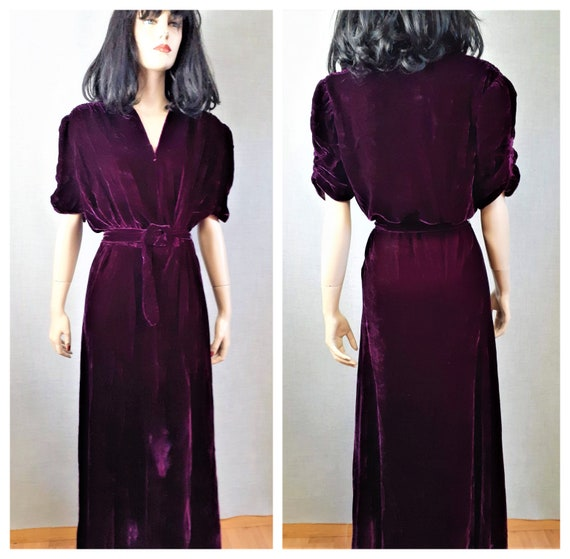 Pristine 30's Silk Velvet Cocktail Gown Size L - 4