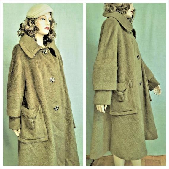 40's Designer Mohair Wool Swing Coat - 1940's Oliv