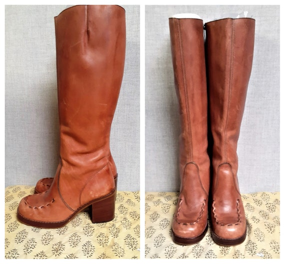 70s Leather Whip Stitch Hippie Boots - Campus Boot