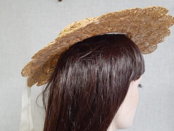 Edwardian Basket Weave Straw Tilt Hat AMAZING! 19… - image 5