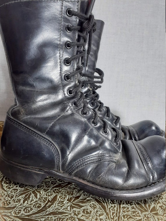 70's Black Cap Toe Leather Military Boots Corcoran