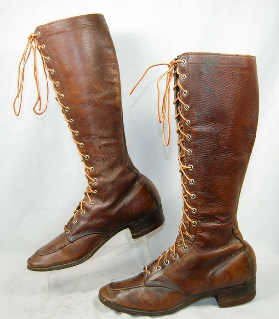 1930's Tall Lace Up Riding Boots Womens sz 6 - Hip