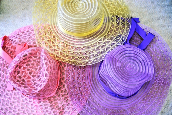 CLEARANCE - 60's 70's Sheer Floppy Straw Sun Hat -