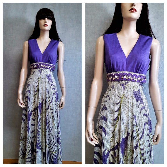 60's Lurex Maxi Dress - Purple Metallic Hostess Go