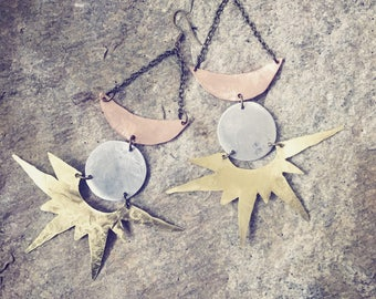 Eclipse sun earrings, statement earrings, boho sun earrings, mixed metal earrings sun earrings, moonphase