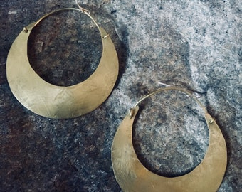 Brass moon earrings, gold hoops, boho brass earrings, brass hoop earrings, moon earrings, circle earrings