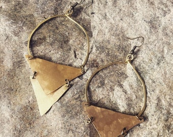 Double triangle earrings, brass arrow earrings, triangle hoops, ethnic earrings, statement earrings, boho brass hoops, arrow earrings