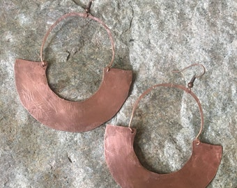 Ethnic copper half circle earrings, statement copper earrings, big ethnic copper earrings, copper half circle earrings, statement earrings