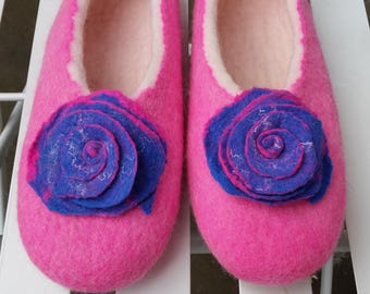 Slippers Handmade Felted Wool Women Slippers. Made by Feltingstudio in Edinburgh, SCOTLAND
