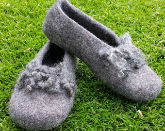 Handmade Felted Wool Slippers, made in Edinburgh, SCOTLAND, UK Size 4