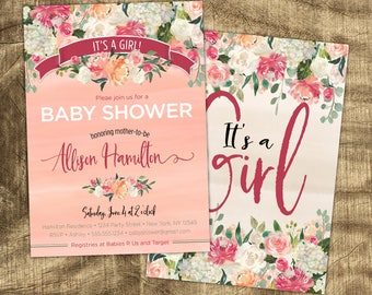 Baby Girl Shower invitation, Vintage, Co-ed, Spring Baby Shower, Rustic invite, Pink, Floral, Coed Shower, Couples Baby Girl Shower Invite