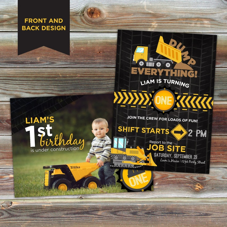 Construction Theme Birthday Invitation Invitations