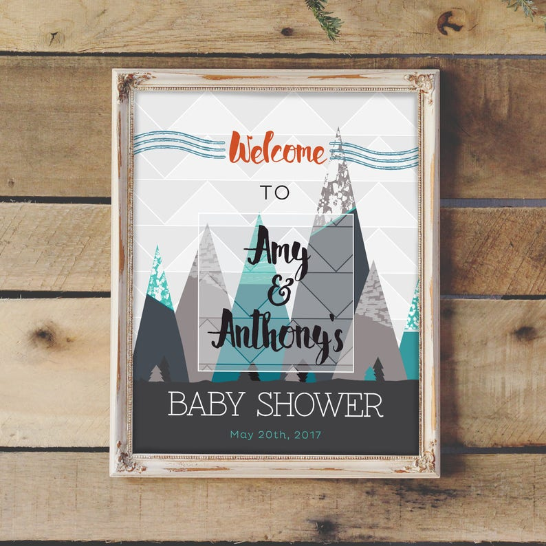 Baby Shower Welcome Sign Baby Shower Decoration Mountain Etsy