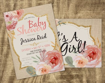 Baby Girl Shower invitation, Vintage, Co-ed, Spring Baby Shower, Rustic, Burlap, Pink,  Floral, Coed Shower, Couples Baby Girl Shower Invite