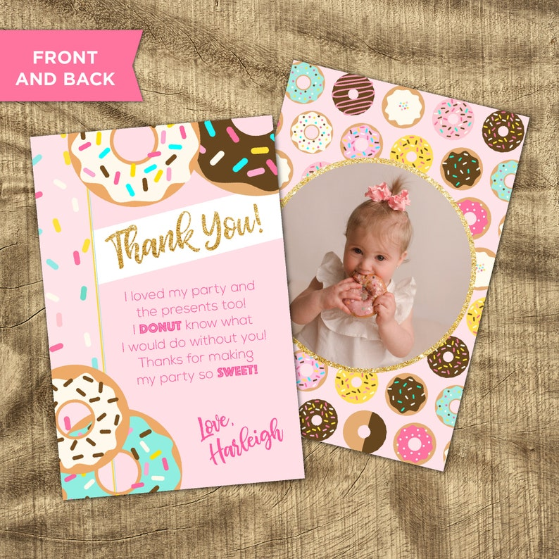 1st Birthday Thank You Custom Thank You note Donut Thank You Card Matching Thank You Donut Grow Up Thank You Donut Party Supplies