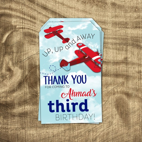 Airplane Birthday Party Favor Tags: Airplane Thank You Tag Boys Birthday Favor Tag Party