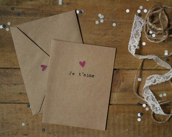 Valentine Card : «Je t'aime» - Purple heart