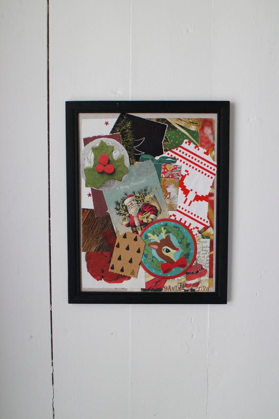 Framed Artwork Made From Recycled Materials Christmas Decoration Or Hostess Gift Idea