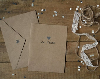 Valentine Card : «Je t'aime» - Gray Heart