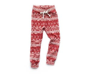 Ready to ship Red Reindeer Joggers