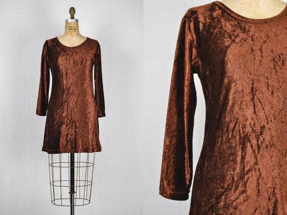 Vintage 90s Velvet Babydoll Dress / 1990s Grunge B