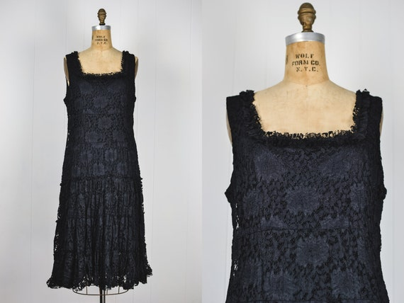 Vintage 90s Black Lace Flowy Dress / 1990s Grunge