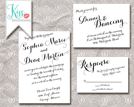 Diy Calligraphy Wedding Invitations: Items Similar To Printable Wedding Invitation Calligraphy