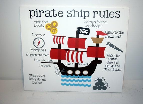 Pirate ship rules pirate decor pirate ship wall art | Etsy