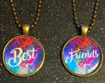 Best Friends Necklace Set   Galaxy Friends Necklaces BFF Friendship Jewelry   Gift For Friend Best Friends KeyChain   Best Friends Keychains