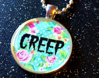 Floral Creep Necklace / Pastel Goth Soft Grunge Jewelry / Pastel Grunge Creepy Cute Pendant / Nu Goth Creepy Gift / Antisocial Introvert