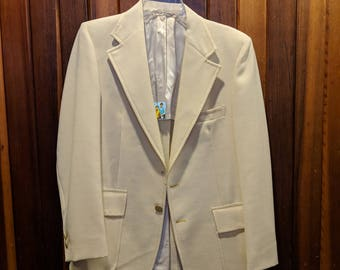 1980s // PASTEL KING // Vintage Bamberger's New Jersey Pale Yellow Suit Jacket