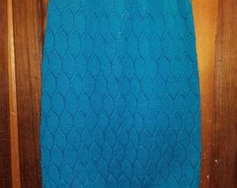 TIPPI HEDREN SKIRT // 80's Teal Green Blue Crochet Knit Hippie Hipster Skirt Elastic Waist