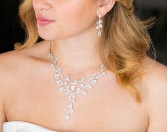 crystal necklace set, bridal jewelry, bridal necklace, bridal vine necklace set, wedding necklace set, wedding jewelry