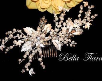 pearl bridal comb, Crystal wedding hair clip, bridal hair comb, crystal hair vine, ivory pearl bridal comb, wedding comb