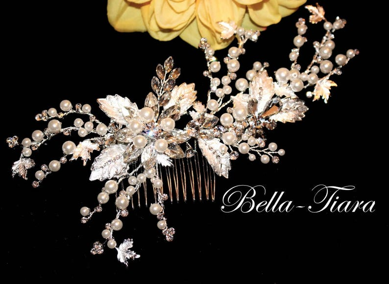 pearl bridal comb Crystal wedding hair clip bridal hair image 1