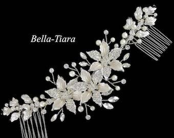 silver ivory wedding comb, wedding veil comb, ivory wedding comb, pearl crystal bridal comb, wedding crystal hair vine, wedding comb,