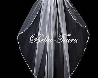 wedding veil, cathedral pearl crystal trim veil, crystal and pearl veil, beaded edge wedding veil, pearl trim wedding veil, bridal veil