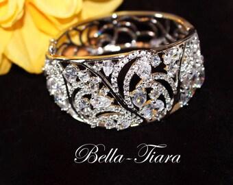 crystal wedding bracelet, cuff bridal bracelet, CZ bridal bracelet, wide wedding bracelet, cuff crystal bracelet, cuff wedding bracelet