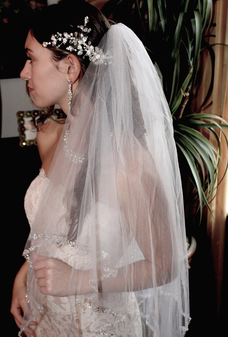 cascading veil beaded wedding veil cathedral veil beaded cathedral veil beaded bridal veil floor length veil cathedral wedding veil