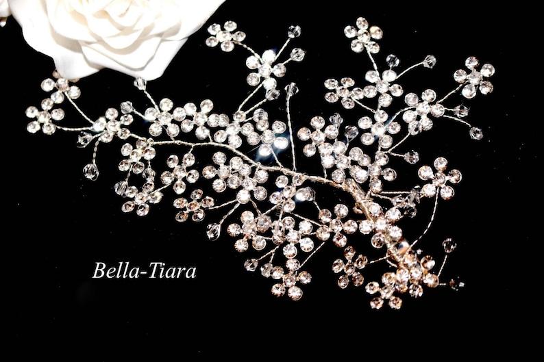 romantic hair clip floral hair clip crystal vine hair comb crystal vine hair clip rhinestone flower hair clip bridal hair clip