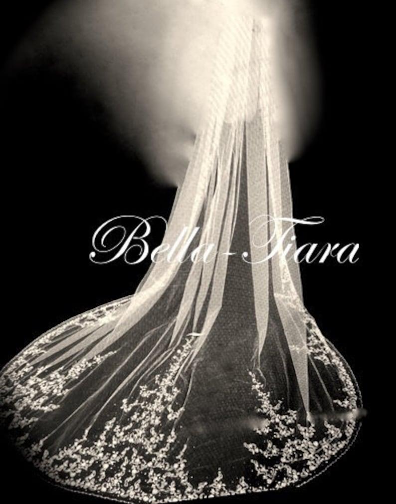 Swarovski Rhinestone Embroidered Cathedral Bridal Veil White Ivory Champagne