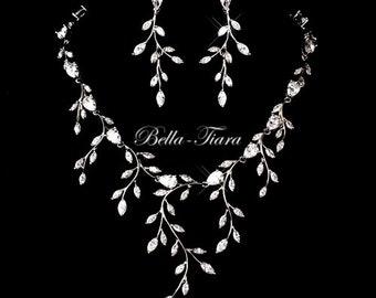 crystal necklace set, bridal jewelry, bridal necklace, bridal vine necklace set, vine wedding necklace set, wedding jewelry