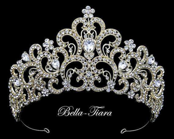 Konigliche Kristall Hochzeits Tiara Gold Braut Diadem Etsy