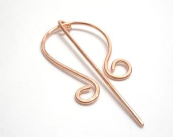 Copper celtic shawl pin. Handmade copper shawl pins. Copper wire scarf pin. Simple cloak pin. Copper jewelry