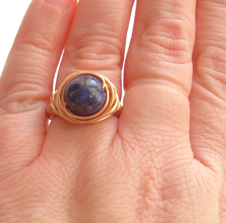 Lapis lazuli ring Wire wrap stone ring for women Copper jewelry Gemstone ring