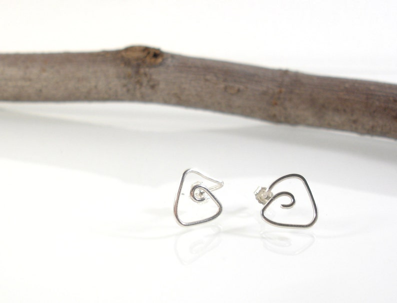 Triangle studs Unisex earrings Triangle stud earrings Contemporary jewelry Silver jewelry Sterling silver earrings Tiny stud earrings
